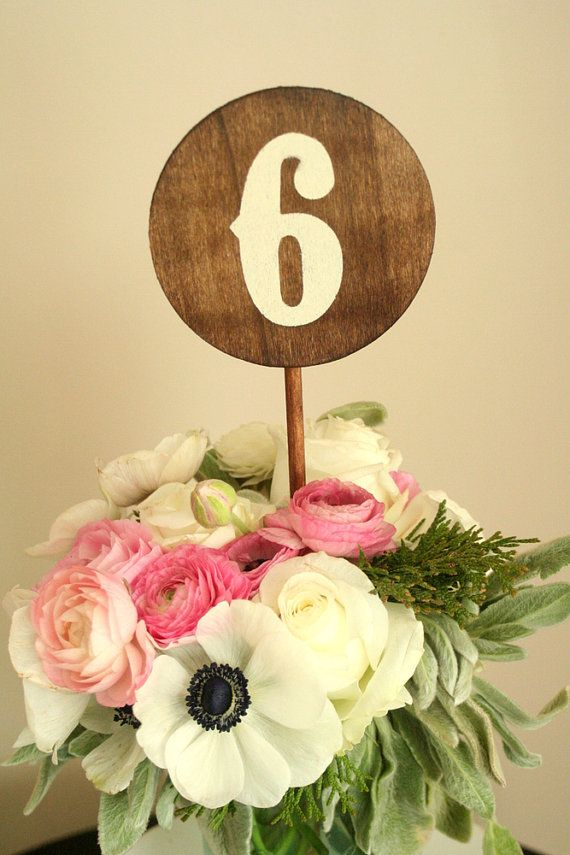 Свадьба - Wedding Wood Table Numbers 1-10 - Round - Made To Order