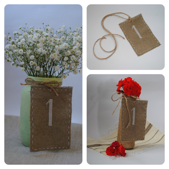 Wedding - Table number Embroidered wedding table number Wedding decorations Burlap table number MADE TO ORDER in colours of your wedding color palette