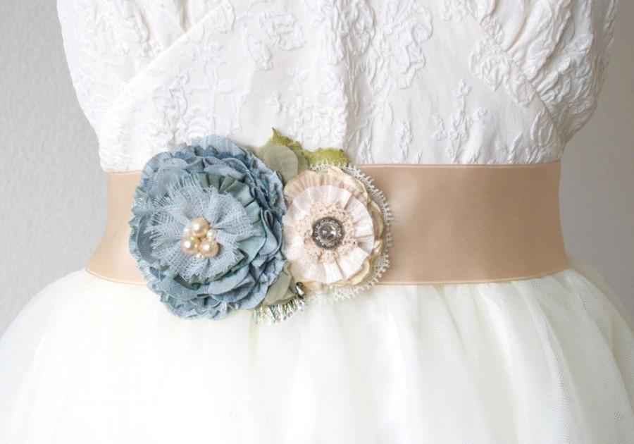 Mariage - Wedding Sash Belt - Teal Blue, Ivory and Cream Fabric Flowers