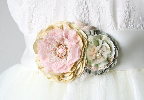 Wedding - Petite Pastel Posy Flower Sash - Soft Pink, Yellow and Green