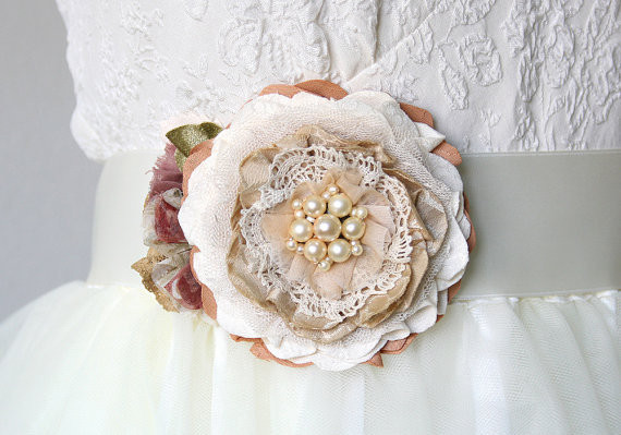 Wedding - Rustic Bridesmaid Dress Fabric Flower Pin and Sash