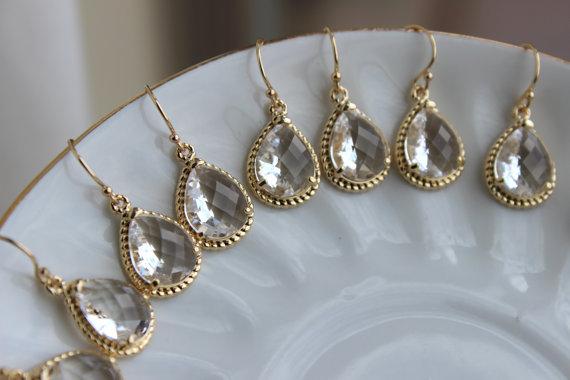 Wedding - 10% OFF SET OF 2 Wedding Jewelry Bridesmaid Earrings Bridesmaid Jewelry - Crystal Earrings Clear Gold Teardrop Earrings - Bridal Earrings