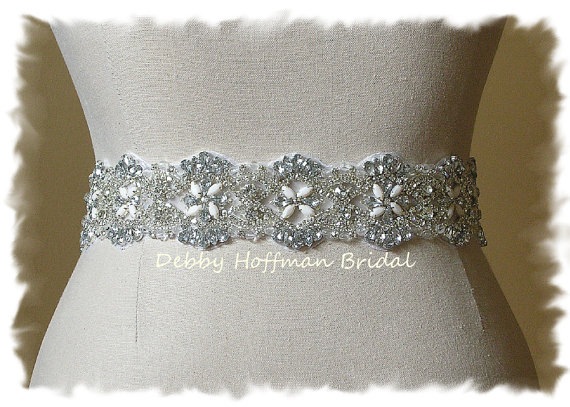 Vintage inspired rhinestone crystal beaded bridal sash for Wedding dress accessories belt
