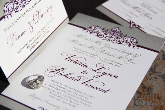 Mariage - Ornate Scroll Wedding Invitation Suite, Sophisticated Style Set. Purple scrolls wedding invitations