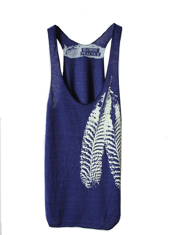 Wedding - Indigo and White Feather design on Tri-Blend Racerback Tank Top hand printed by Blonde Peacock