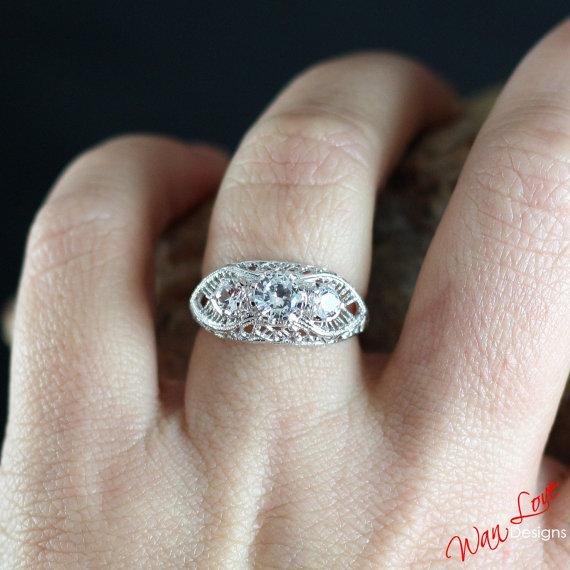 Свадьба - FB Forever Brilliant Moissanite 3 Stone Antique filigree Engagement Ring 14k 18k White Yellow Rose Gold-Platinum-Custom-Wedding-Anniversary