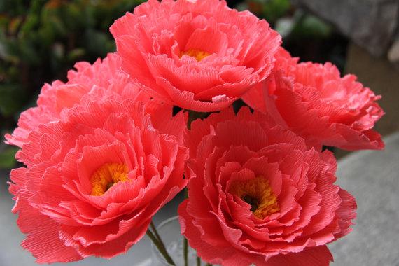 زفاف - Peonies - Crepe Paper Flowers - Paper Peonies