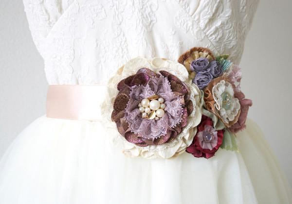 Wedding - Floral Bridal Belt - Purple and Rose Gold Fabric Flowers
