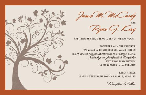 Wedding - RUSH Fall Tree Wedding Invitations - Fall Wedding Invitation - Autumn - Custom Listing for jmmccurdy5