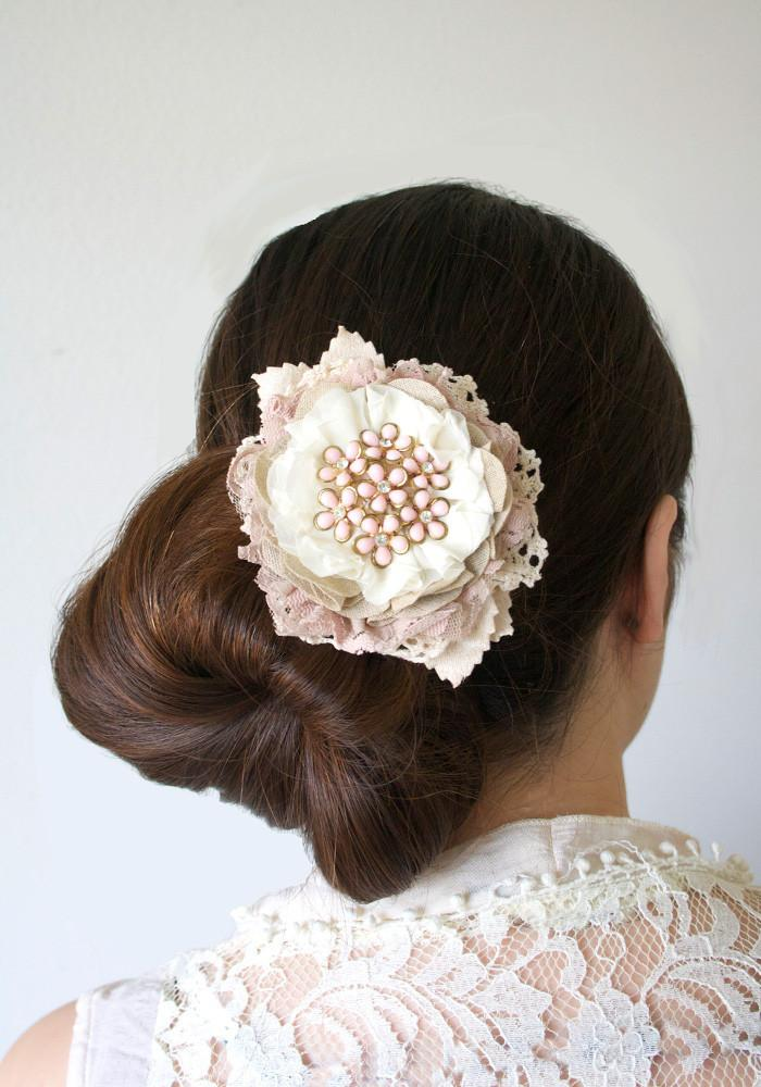 Wedding - Large Floral Hair Barrette with Vintage Jewel and Antique Lace - Blush Pink and Ivory
