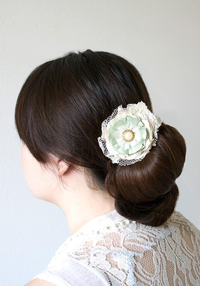 Wedding - Floral Hairpiece with Pearl Rhinestone Button and Vintage Lace - Mint, Sea Foam Green and Ivory