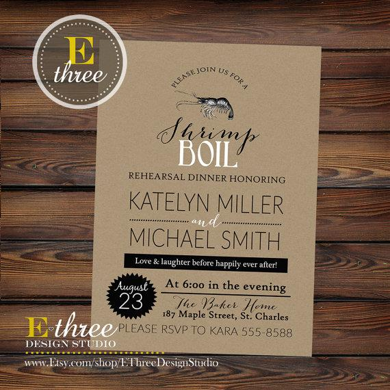 Boda - Printable Rehearsal Dinner Invitation - Shrimp Boil Rehearsal Dinner Invite - Seafood Boil Invitation