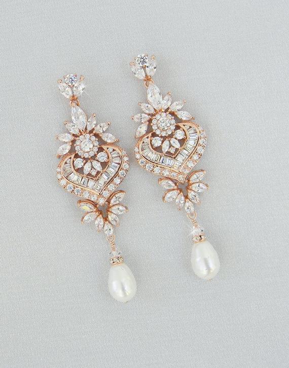 Mariage - Rose Gold Bridal Earrings, Crystal Wedding earrings, Bridal Jewelry, Long Crystal Wedding Earrings, Swarovski, London Bridal Earrings
