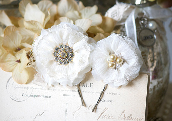 Wedding - Bridal Hair Pins - Ivory Fabric Flowers with Pearl and Rhinestone Centers