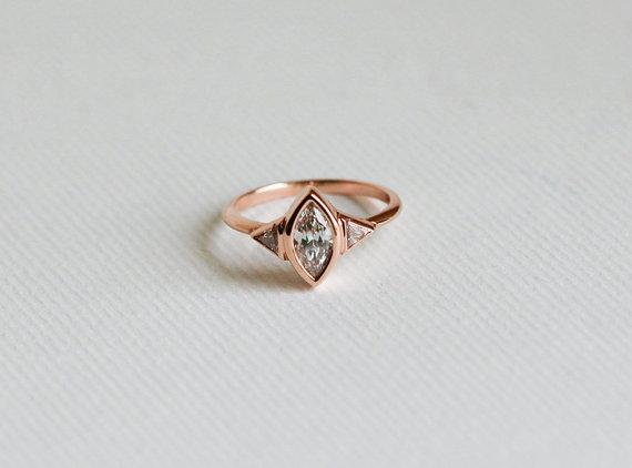 Rose Gold Diamond Engagement Ring Three Stone Engagement Ring