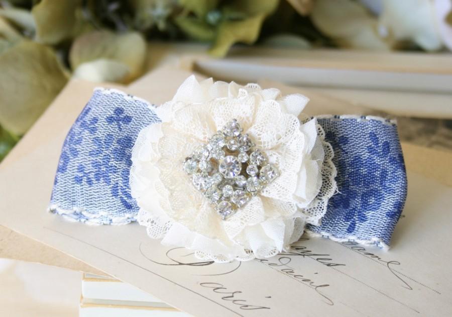 Wedding - Rhinestone Bridal Hair Barrette - Something Blue Floral Lace Hair Bow