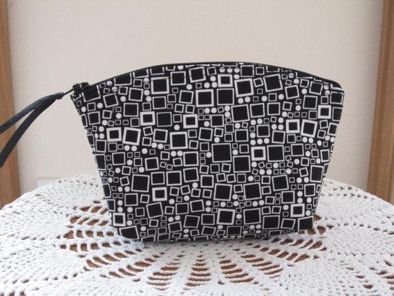 Mariage - Clutch Cosmetic Bag  Purse Black and White Geometric Bridal Wedding Gift