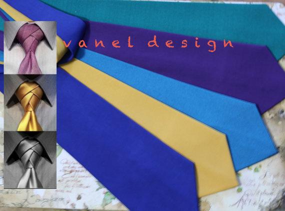 Mariage - Mens Tie Choose Match color with your Bridesmaids Dresses Skinny Necktie Custom colors Men's Tie