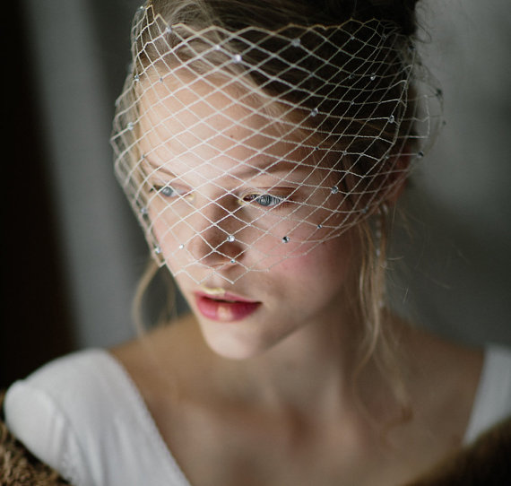 Mariage - Bridal bandeau cage veil, Vintage French net rhinestones - Marlene no. 2113