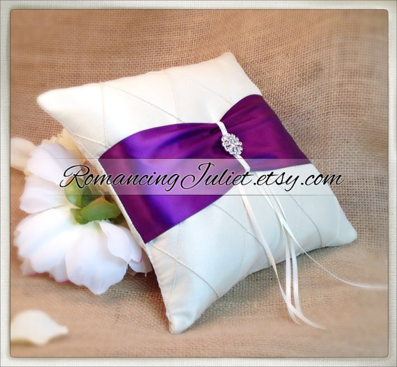 Mariage - Pintuck Taffeta Diamonds Ring Bearer Pillow in Ivory with Eggplant Sash and Rhinestone Button..You Choose the Colors