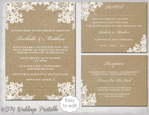 Rustic Wedding Invitation Set Diy Lace Printable Kraft Template Suite Editable Word Digital