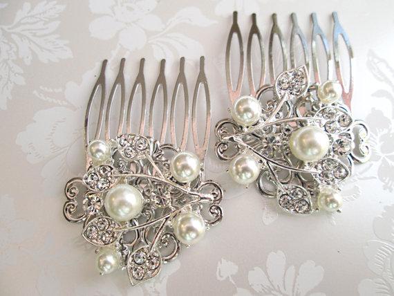 Hochzeit - Wedding hair accessories Bridal Clip Bridesmaid hair comb Pearl barrette crystal Comb Ivory Pearl headpiece Bridesmaids Gift