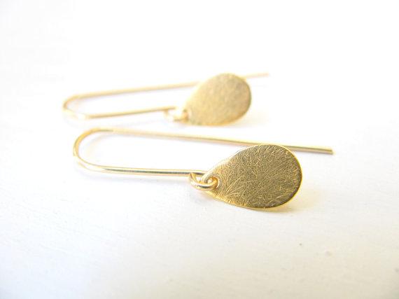 Mariage - Teardrop earrings, gold earrings, gold fill, delicate, simple jewelry, gold drop earrings, dangle earrings