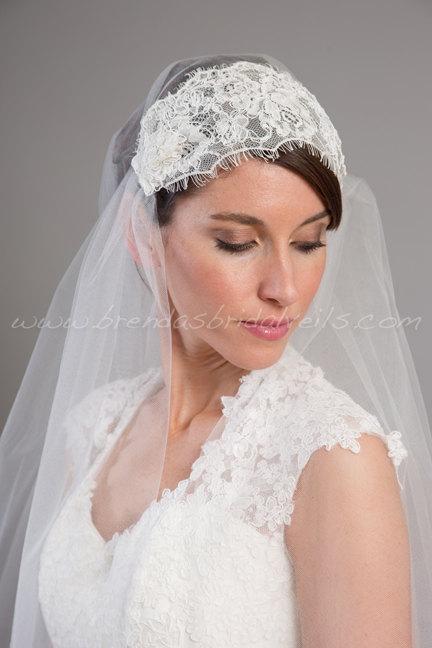 Mariage - Lace Cap Veil, Great Gatsby Veil, Juliet Cap Veil, Bridal Veil, Lace Wedding Veil - Gabrielle