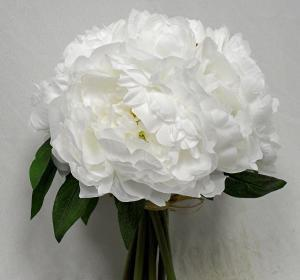 Artificial Flowers One Pure White Peony Bouquet Budget Silk