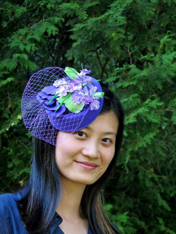 Hochzeit - Ready to ship today! Purple fascinator lavender veil wedding hat SMILING LILY 2