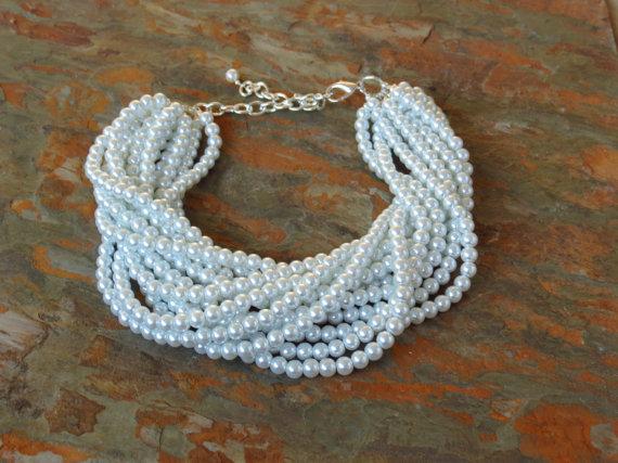 زفاف - Pearl Necklace Statement Necklace - Large Pearl Necklace - White Pearl Necklace - Pearl Choker Necklace - Bridal Pearls Bridesmaid Gift