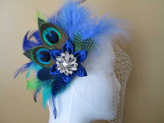زفاف - PEACOCK Wedding Fascinator, Royal Blue Head Piece, Bridal Hair Flower,  Birdcage Veil, Teal & Blue Feather Headpiece, Fair Weddings