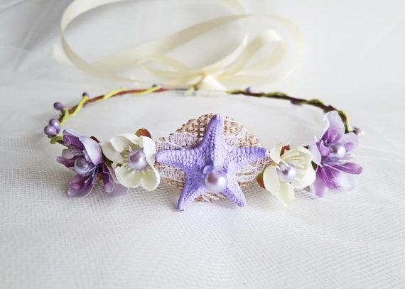 زفاف - Keiki Mermaid Flower Crown- Beach Wedding Wreath- Hair Accessory-Sea Star Mermaid Crown-Childrens Mermaid Crown