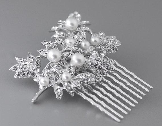 Свадьба - Wedding Hair Comb, Bridal Hair Piece, Leafy Crystal Hair Comb, Pearl Hair Piece, Wedding Hair Accessories, MADDIE