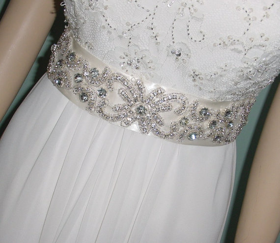 Mariage - Wedding  Sash Bridal Dress Belt w Rhinestone Applique on Satin Ready to Ship in Ivory
