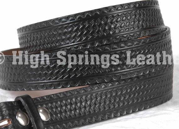 Свадьба - Black Basketweave embossed Leather Belt