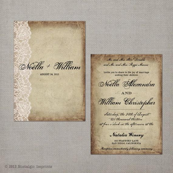 "زفاف - reserved for lorivallone - Wedding Invitation - The ""Noella"""