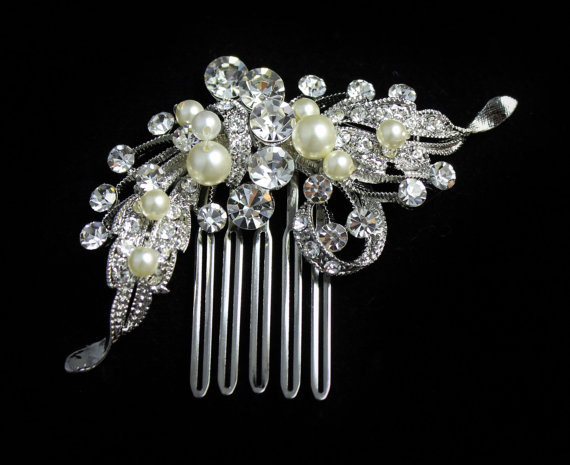 Mariage - Crystal Bridal Hair Comb, Wedding Hair Accessories,Crystal Bridal Hair Piece, Bridal Hair Clip ROSE 2