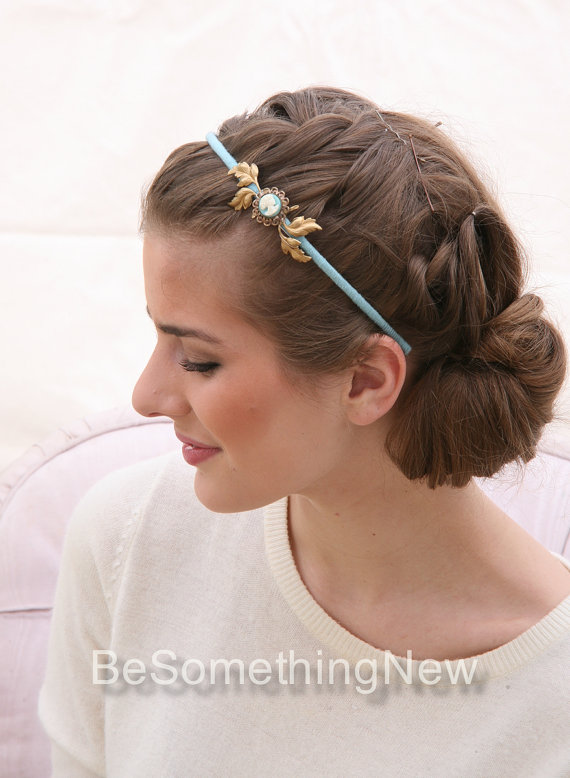 Hochzeit - Woman's Headband with Vintage Cameo and Gold Leaves Hair Accessories, Gifts for Her