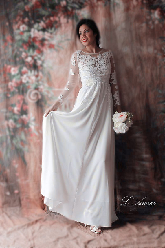 Affordable Fitted Long Sleeved Lace Bridal Wedding Dress