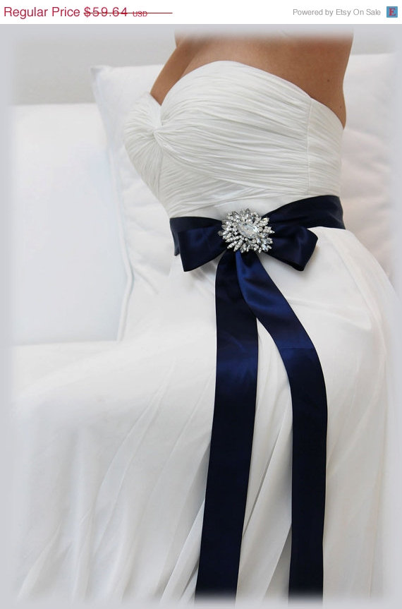 Mariage - Navy Blue bridal sash, crystal sash, ribbon sash, rhinestone belt, wedding accessory, bridal belt, bridesmaid belt