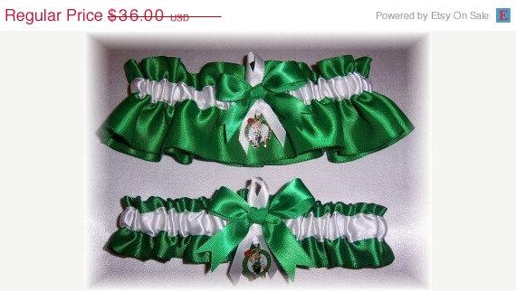 Hochzeit - SALE Handmade Wedding Garter Set with Boston Celtics Charms Satin EW