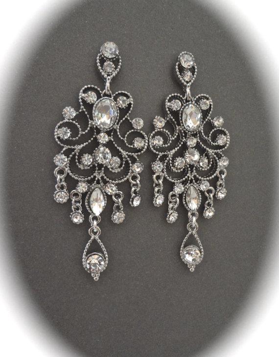 Mariage - Brides earrings ~ Crystal chandelier earrings ~ Antiqued, Victorian, Vintage style, Crystal, Wedding earrings, Gorgeous Bridal jewelry