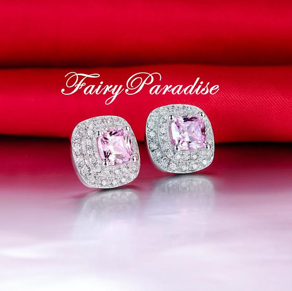 Свадьба - Total 2 ct (1 ct each) Cushion Cut Man Made Pink Diamond Double Halo Earrings, Bridal Earrings- FairyParadise
