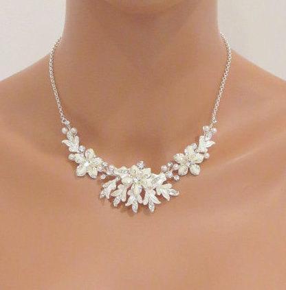 Mariage - Bridal necklace Set, Bridal jewelry, Wedding necklace set, Pearl necklace, Pearl earrings, Wedding necklace and earrings, Rhinestone jewelry