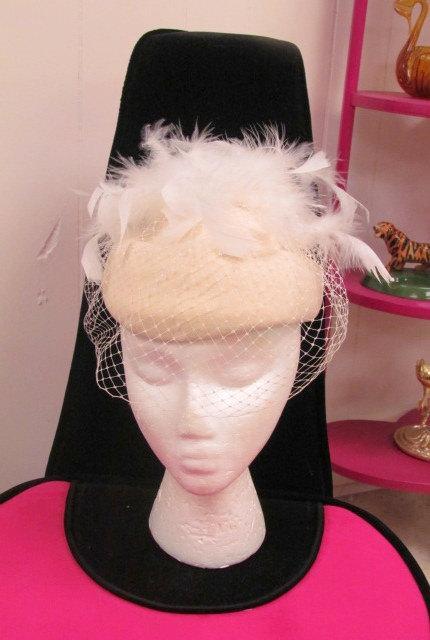 Свадьба - On Sale-Beautiful FEATHER WEDDING Hat With VEIL