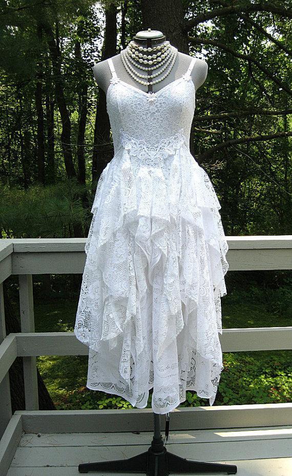 White Tattered Boho Gypsy Hippie Alternative Bride Wedding Dress ...