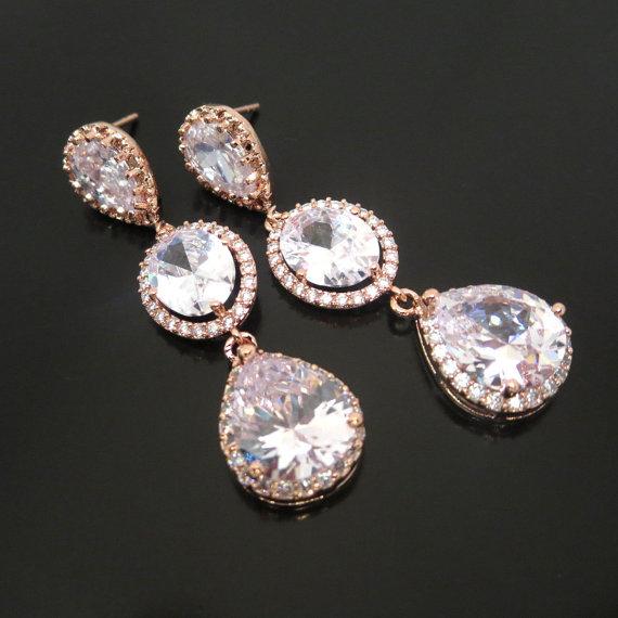 Свадьба - Rose Gold Bridal earrings, Crystal Wedding earrings, Bridal jewelry, Gold earrings, Long earrings, Bridesmaid earrings, Rose gold jewelry