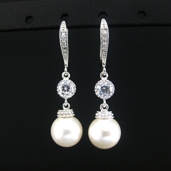Свадьба - Wedding Jewelry Bridesmaid Gift Bridal Earrings Cubic Zirconia Swarovski Round Pearl Drop Dangle Earrings (E098)