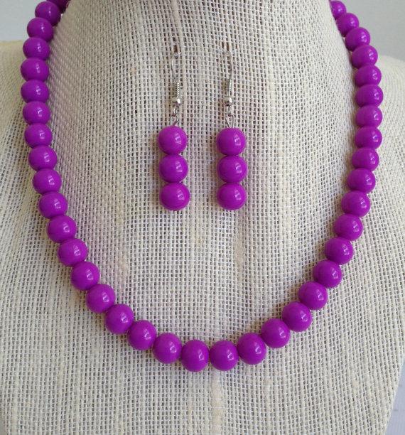 Свадьба - Purple Necklace, Purple Wedding Jewelry, Purple Beaded Necklace, Purple Jewelry, Purple Bridesmaid Jewelry, Bridesmaid Gift